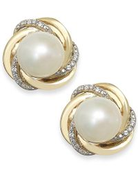 Macy's - Metallic Cultured Freshwater Pearl (7mm) And Diamond Accent Knot Stud Earrings In 14k Gold - Lyst