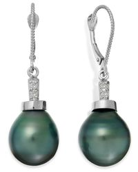 Macy's | Green Baroque Tahitian Pearl (11mm) And Diamond Accent Drop Earring In 14k White Gold | Lyst