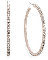 INC International Concepts - Pink Rose Gold-tone Crystal Pavé Hoop Earrings - Lyst