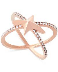 Michael Kors - Multicolor Rose Gold-tone Pavé Starburst Open Ring - Lyst