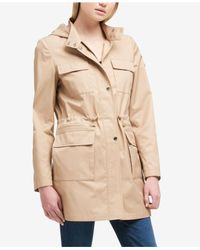 DKNY - Natural Hooded Cinched-waist Raincoat - Lyst