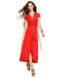 Michael Kors | Red Michael High-low Faux-wrap Dress | Lyst