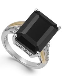 Macy's | Black Onyx (10-1/2 Ct. T.w.) And Diamond Accent Ring In Sterling Silver And 14k Gold | Lyst
