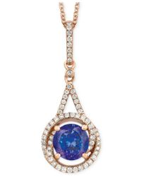 Le Vian   Blue Tanzanite (1-1/5 Ct. T.w.) And Diamond (1/4 Ct. T.w.) Pendant Necklace In 14k Rose Gold   Lyst