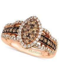 Le Vian   Metallic White And Chocolate Diamond Ring In 14k Rose Gold (1-1/4 Ct. T.w.)   Lyst