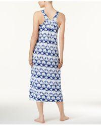 Alfani - Blue Racerback Printed Knit Nightgown - Lyst