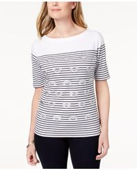 Karen Scott - Blue Embellished Striped T-shirt, Created For Macy's - Lyst