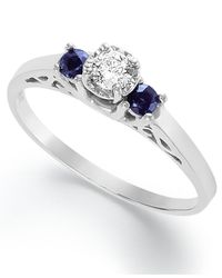 Macy's | Blue Sterling Silver Ring, Diamond (1/3 Ct. T.w.) And Sapphire (1/6 Ct. T.w.) Engagement Ring | Lyst