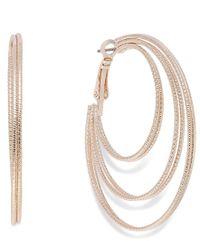 INC International Concepts | Multicolor Rose Gold-tone Textured Orbital Hoop Earrings | Lyst