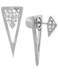 Vince Camuto - Metallic Pave Front-back Ear Jacket Earrings - Lyst