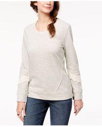 Style & Co. - White Crochet-trim Sweatshirt, Created For Macy's - Lyst