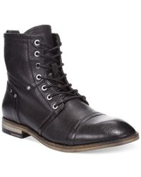 Guess | Black Eagan Cap-toe Boots for Men | Lyst
