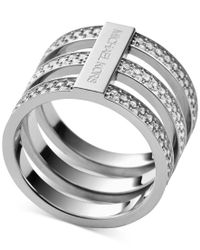 Michael Kors - Metallic Clear Pave Tri-stack Ring - Lyst