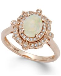 Effy Collection | Metallic Aurora By Effy Opal (5/8 Ct. T.w.) And Diamond (1/6 Ct. T.w.) Oval Ring In 14k Rose Gold | Lyst