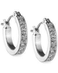Nine West | Multicolor Silver-tone Pave Crystal Hoop Earrings | Lyst