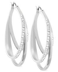 Swarovski - Metallic Spiral Crystal Pave Hoop Earrings - Lyst