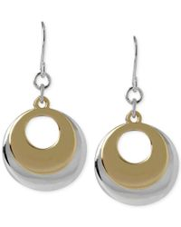 Hint Of Gold | Metallic Layered Disc Earrings In 14k Gold-plated And Silver-plated Metal | Lyst