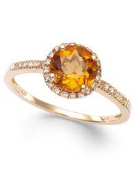 Macy's   Metallic Citrine (1-1/5 Ct. T.w) And Diamond (1/8 Ct. T.w.) Round Ring In 14k Gold   Lyst