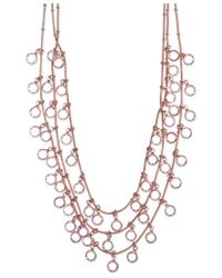 Anne Klein - Multicolor Rose Gold-tone Shaky Crystal Three-row Necklace - Lyst