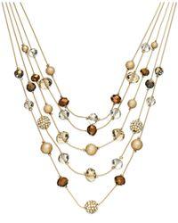 INC International Concepts | Metallic Gold-tone Bronze Bead Illusion Necklace | Lyst