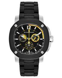 Burberry | Men's Swiss Chronograph The Britain Black Polyurethane Strap Watch 47mm Bby1106 for Men | Lyst