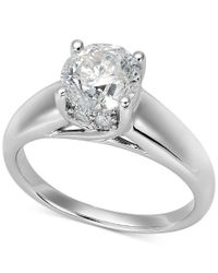 Macy's | Metallic Certified Diamond Solitaire Engagement Ring In 14k White Gold (1-1/2 Ct. T.w.) | Lyst