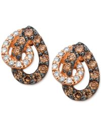 Le Vian   Multicolor White And Chocolate Diamond Teardrop Earrings In 14k Rose Gold (1/2 Ct. T.w.)   Lyst
