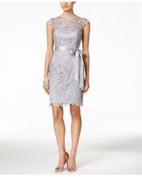 Adrianna Papell | Natural Lace Cap-sleeve Illusion Sheath Dress | Lyst