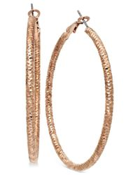 INC International Concepts | Pink Rose Gold-tone Large Textured Hoop Earrings | Lyst