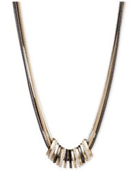 Nine West | Multicolor Tri-tone Crystal Large Slider Necklace | Lyst