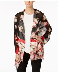 Calvin Klein - Red Floral Colorblock Scarf - Lyst
