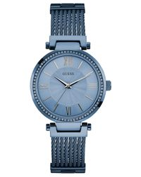 Guess - Gray Women's Sky Blue Ion-plated Stainless Steel Bracelet Watch 36mm U0638l3 - Lyst