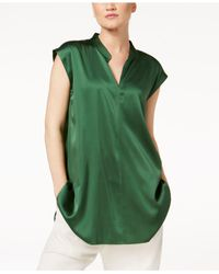 Eileen Fisher | Green Silk-blend Mandarin-collar Top | Lyst