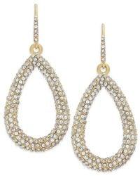 ABS By Allen Schwartz - Metallic Earrings, Gold-tone Pave Crystal Teardrop Earrings - Lyst