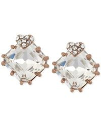 Betsey Johnson - Metallic Rose Gold-tone Heart And Square Crystal Stud Earrings - Lyst