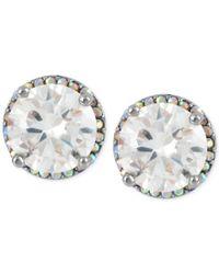 Betsey Johnson | Metallic Silver-tone Crystal Round Stud Earrings | Lyst
