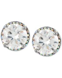 Betsey Johnson | Metallic Silver-tone Crystal Round Stud Earrings | Lyst