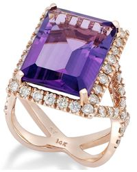 Macy's | Purple Amethyst (12 Ct. T.w.) And Diamond (1-1/4 Ct. T.w.) Ring In 14k Rose Gold | Lyst