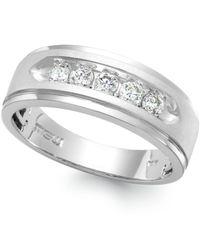 Macy's | Metallic Men's Five-stone Diamond Ring In 10k White Gold (1 Ct. T.w.) for Men | Lyst