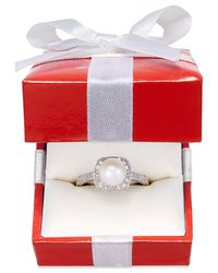Macy's | Cultured Freshwater Pearl (8mm) And Diamond (1/4 Ct. T.w.) Ring In 14k White Gold | Lyst