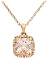 Macy's | Metallic Morganite (1-1/4 Ct. T.w.) And Diamond Accent Pendant Necklace In 14k Rose Gold | Lyst