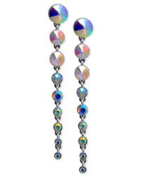 Guess | Metallic Silver-tone Graduated Stone Drop Earrings | Lyst