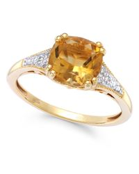 Macy's | Metallic Citrine (2-1/5 Ct. T.w.) And Diamond Accent Ring In 14k Gold | Lyst