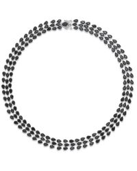 Macy's | Metallic Black Sapphire Three-row Necklace In Sterling Silver (97 Ct. T.w.) | Lyst