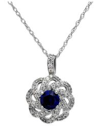 Macy's | Metallic Sapphire (5/8 Ct. T.w.) And Diamond (1/3 Ct. T.w.) Knot Pendant Necklace In 14k White Gold | Lyst