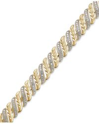 Macy's | Metallic Diamond Accent Swirl Bracelet In Sterling Silver-plated Bronze Or 18k Gold Over Sterling Silver-plated Bronze | Lyst