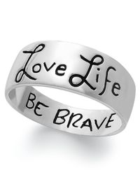 Macy's | Metallic Love Life, Be Brave Engraved Ring Sterling Silver | Lyst