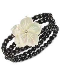 Macy's | Multicolor Onyx (122 Ct. T.w.) And Mother Of Pearl (32 Mm) Flower Stretch Bracelet In Sterling Silver | Lyst