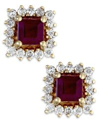 Macy's | Brown Ruby (3/4 Ct. T.w.) And Diamond (1/3 Ct. T.w.) Stud Earrings In 14k Gold | Lyst