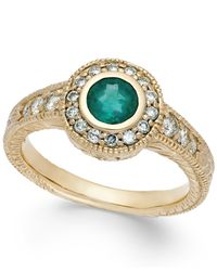 Macy's - Metallic Emerald (1/2 Ct. T.w.) And Diamond (1/3 Ct. T.w.) Round Ring In 14k Gold - Lyst